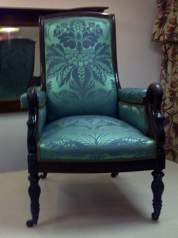 Swan Carved Ebonised Armchair